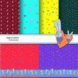 Set of patterns with gray rabbits on colorful backgrounds. For printing wallpapers. Bright rabbit hugging a heart for royalty free illustration