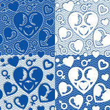 Set of patterns with hearts silhouettes Royalty Free Stock Photos