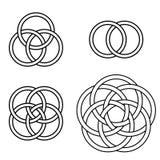 Set patterns intertwined rings, vector logo tattoo plexus circles, pattern of intertwined circles. Set of patterns twisted rings, vector logo tattoo plexus vector illustration