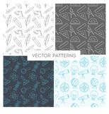 Set of patterns made of thin line icons Stock Images