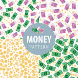 Set of patterns with money. Set of money patterns such as euro, dollars, coins and euro with dollars Royalty Free Stock Image