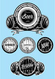 Set of patterns for monochromatic emblems with barrels Stock Photography
