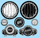 Set of patterns for monochromatic emblems with barrels. Set of vector patterns for monochromatic emblems with barrels Royalty Free Stock Photography