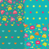Set of patterns with monsters Royalty Free Stock Image