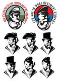 Set of patterns of one man as swindler, adventurer, gangster, captain, pirate, gentleman Stock Photos