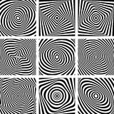 Set of patterns in op art design. Royalty Free Stock Photography