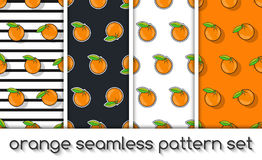 Set of patterns with oranges, seamless texture, wallpaper. Royalty Free Stock Photography