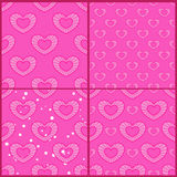 Set of patterns with outline hearts Royalty Free Stock Photos