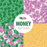 Set of patterns with pot of money. Set of patterns with a lot of money such as euro, dollars, coins and euro with dollars Royalty Free Illustration