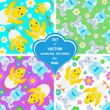 Set of  patterns with rabbits, flowers and chickens. Set of  seamless pattern with rabbits, flowers and chickens. The ideal solution for the design of things and Royalty Free Stock Photography