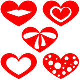 Set of patterns of red hearts on a white background. Royalty Free Stock Images