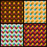 Set of patterns with rhombuses and zigzags. 4 vector seamless patterns with rhombuses and zigzags Stock Photo