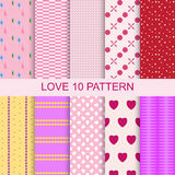Set 10 patterns romantic love seamless. Set of 10 patterns of romantic love seamless. Collection of celebration backgrounds. Pink red shade heart and feelings stock illustration