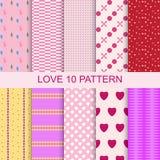 Set 10 patterns romantic love seamless Stock Photos