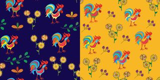 Set of patterns with rooster Stock Images