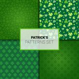 Set Of Patterns For Saint Patricks Day Holiday Seamless Backgrounds With Shamrock Leaves. Vector Illustration vector illustration
