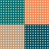 Set of 4 patterns. Seamless backgrounds. Five-pointed stars on a. Calm gentle background. Orange, beige, green stock illustration
