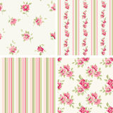 Set of patterns. 4 seamless patterns with flowers Royalty Free Stock Photography