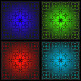 Set of patterns for stained glass. Blue, red, green and blue patterns for glass, tile or tiles Royalty Free Stock Photos