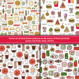 Set of patterns on the theme of food, drink Stock Photos