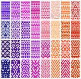 Set of 24 patterns. Tribal colorful lace patterns. Vector illustration Stock Photo