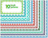 Set of 10 patterns for vector brushes Royalty Free Stock Images