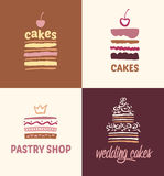 Set of patterns vector logos cakes Royalty Free Stock Photography