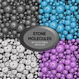 Set of patterns zentangl Stone molecules royalty free illustration