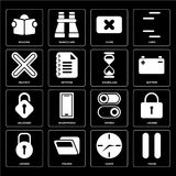 Set of Pause, Clock, Locked, Switch, Unlocked, Hourglass, Multip. Set Of 16 icons such as Pause, Clock, Folder, Locked, Reading, Multiply, Unlocked, Hourglass Stock Illustration