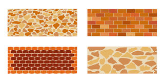 A set of paving slabs and bricks in the landscape designing. Set of paving slab and bricks for landscape designing. Different options of masonry. Vector Royalty Free Stock Photos