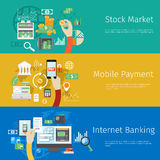 Set of payment concept web banners. Marketing technology, market stock, coin and revenue, bank and earnings, profit and financial. Vector illustration Royalty Free Stock Photography