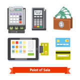 Set of payment icons. Cash register, pos terminal, wallet, tablet and credit cards. Flat style vector isolated on white background stock illustration