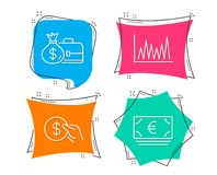 Payment, Salary and Line graph icons. Euro currency sign. Usd coin, Diplomat with money bag, Market diagram. Set of Payment, Salary and Line graph icons. Euro Stock Images