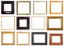 Set of 12 pcs square wooden picture frames Royalty Free Stock Images