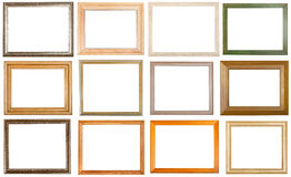 Set of 12 pcs various wooden picture frames Royalty Free Stock Photography