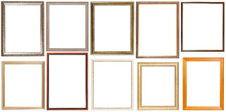 Set of 10 pcs vertical wooden picture frames Royalty Free Stock Photo