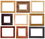 Set of 9 pcs wide wooden picture frames Stock Image