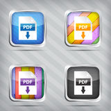 Set of pdf download icons. On a striped background Royalty Free Stock Images