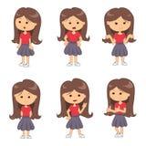 Set pełni długość portrety śliczna dziewczyna ilustracja wektor