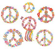 Set of Peace flower symbol. Collection of Peace flower symbol Stock Photography