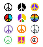 Set of peace signs. Colorful symbols in different styles. Stock Photo