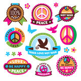 Set of peace symbols and labels Royalty Free Stock Photography
