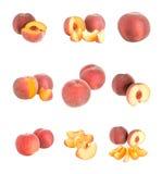 Set of peaches isolated. Set of peaches, isolated on white Royalty Free Stock Photos