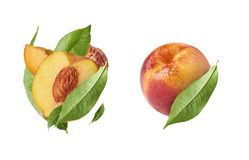 Set with peaches, three exclusive collage with peaches stock photos