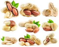 Set of peanuts isolated on the white background Royalty Free Stock Photography