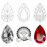 Set of pear cut jewel views Stock Image