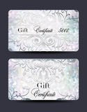 Set of pearl gift certificates with floral design elements Royalty Free Stock Photos