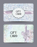 Set of pearl gift certificates with floral design elements and silk bows Royalty Free Stock Photo