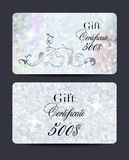 Set of pearl gift certificates with floral design elements and textured background Stock Photo