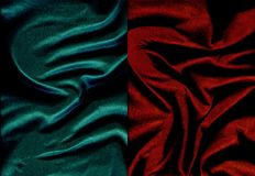 Set of pearly leather textures. Set of dark cyan and dark red crumpled pearly leather textures Stock Photos